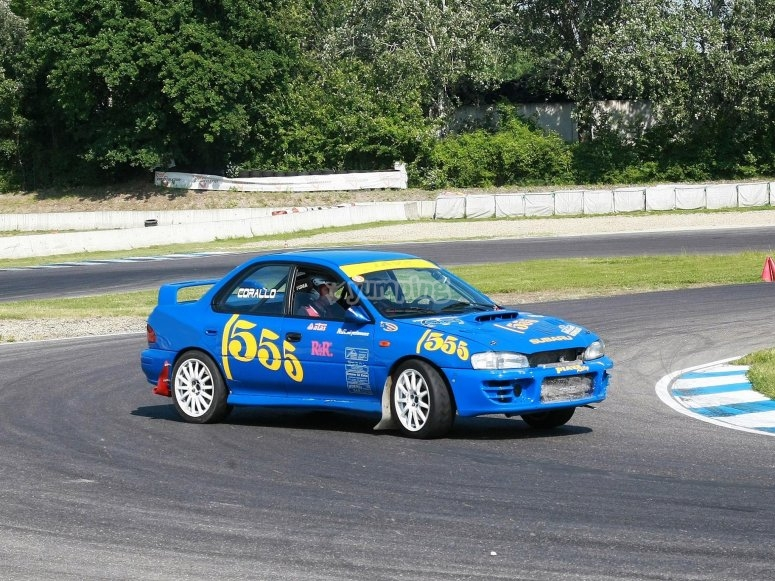 Our Subaru 555 on the track