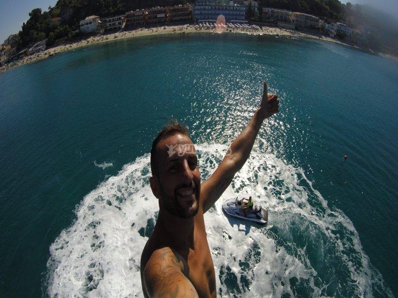 Selfie sul flyboard
