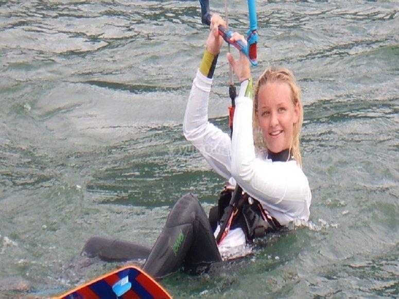 Prima prova in acqua con il kitesurf