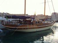 Sail boat in port