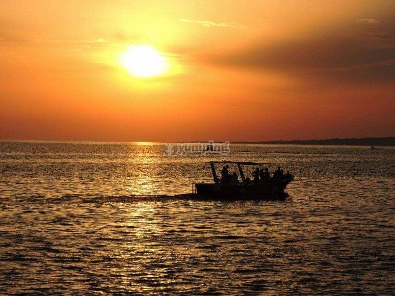 Il tramonto in barca