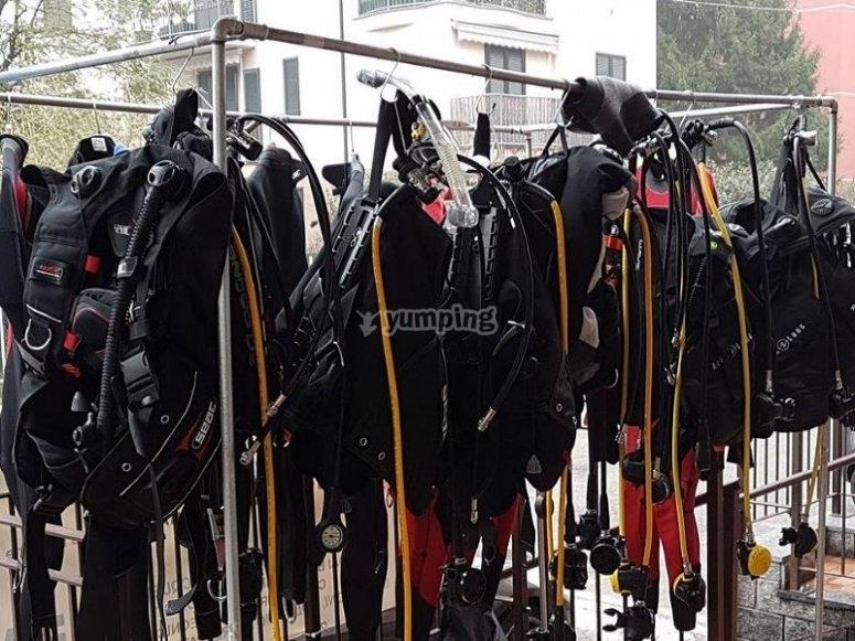 Attrezzatura per il corso di specialita subacquea Nitrox Diver