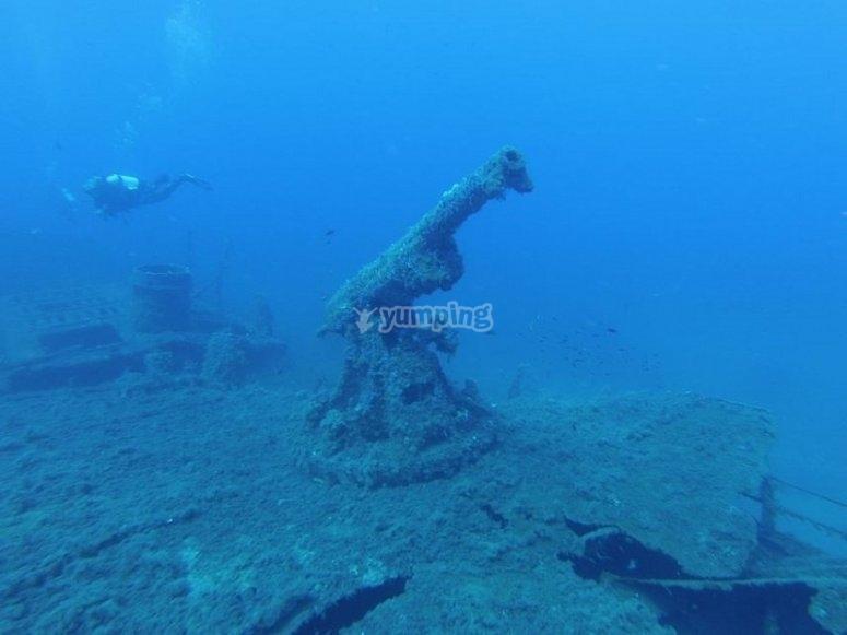 Relitto durante immersione del corso Wreck Diver PADI