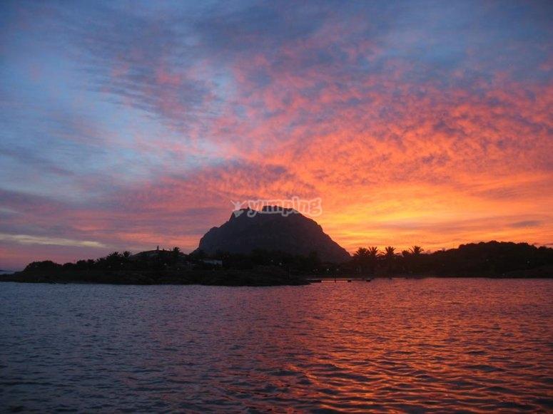 Il tramonto dalla barca