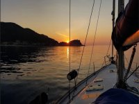 sunset by boat