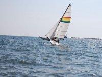 At sea with the catamaran