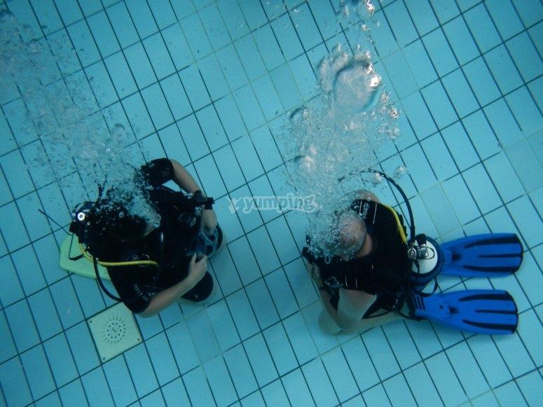 prime lezioni di diving!