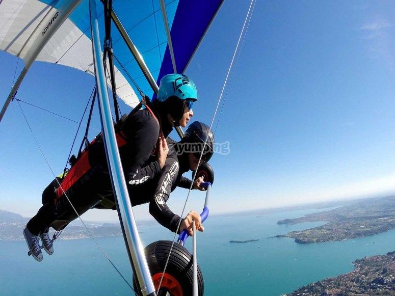 Hovering in the sky over Lake Garda
