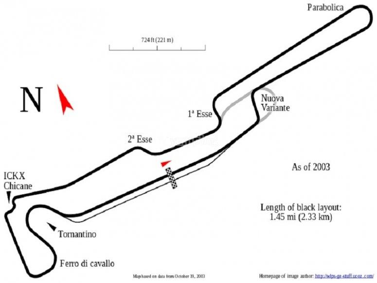 Mappa dell'autodronomo di Varano