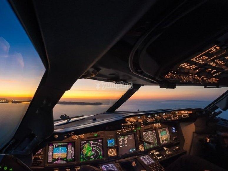 in elicottero al tramonto