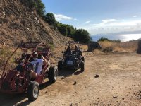 in buggy along the coast