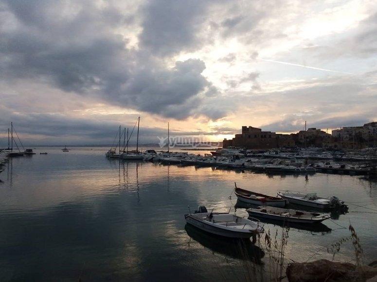 the sunset of castellammare del golfo