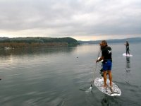 Paddle surfing with Woz