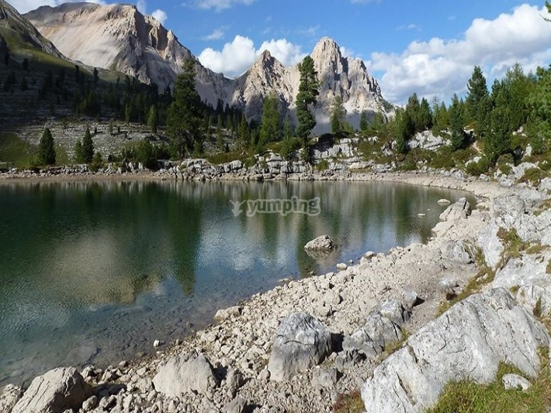 The Fanes Dolomites and one of their lakes