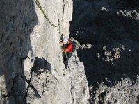 Climbing along the spectacular walls of the Dolomites