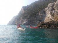 Kayak and sea