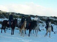 escursione equestre nella neve