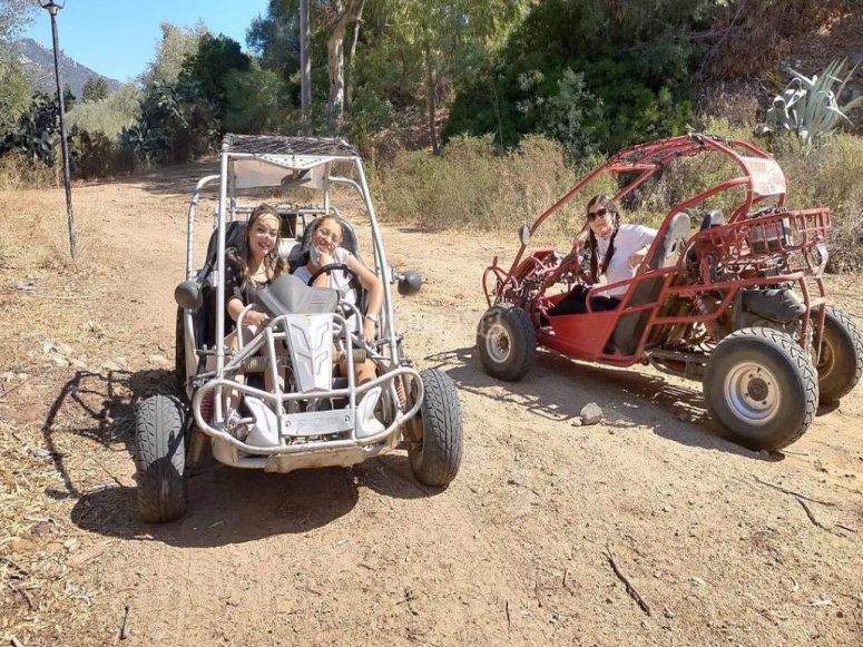 in buggy with friends