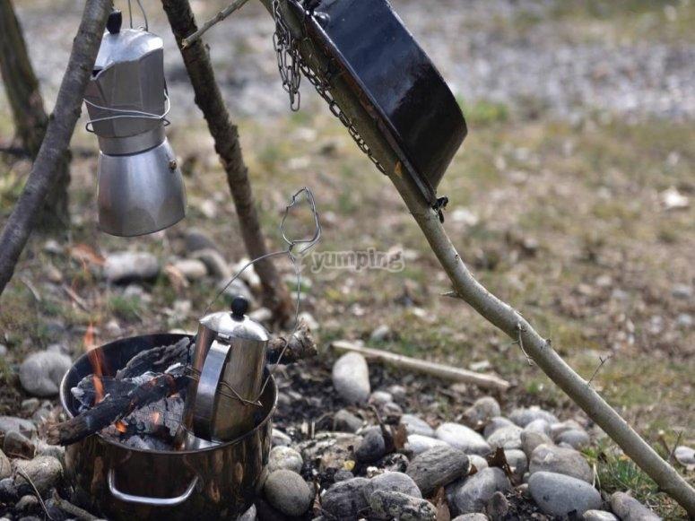 cucina nel bosco