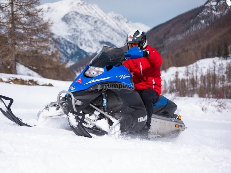 on a snowmobile