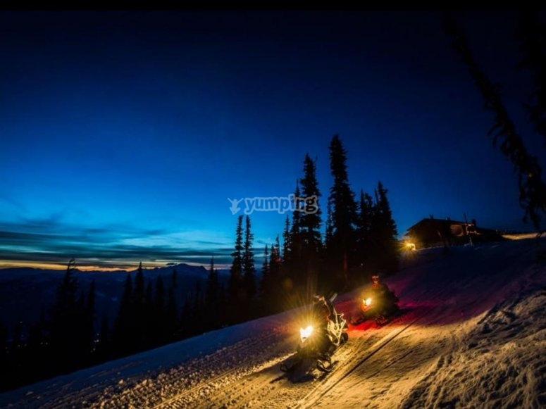 descent by snowmobile