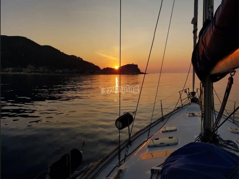 sunset on a sailing boat