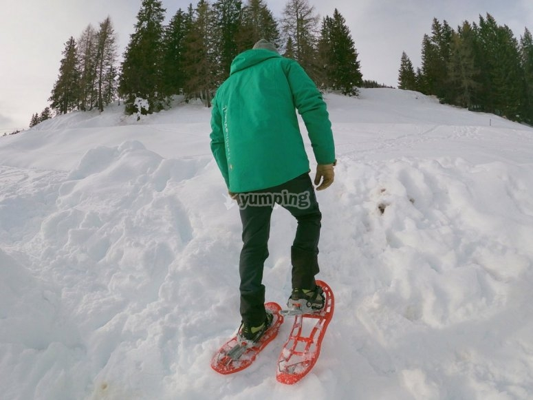 Snowshoeing in the mountains.