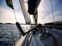 Sailing in the open sea.