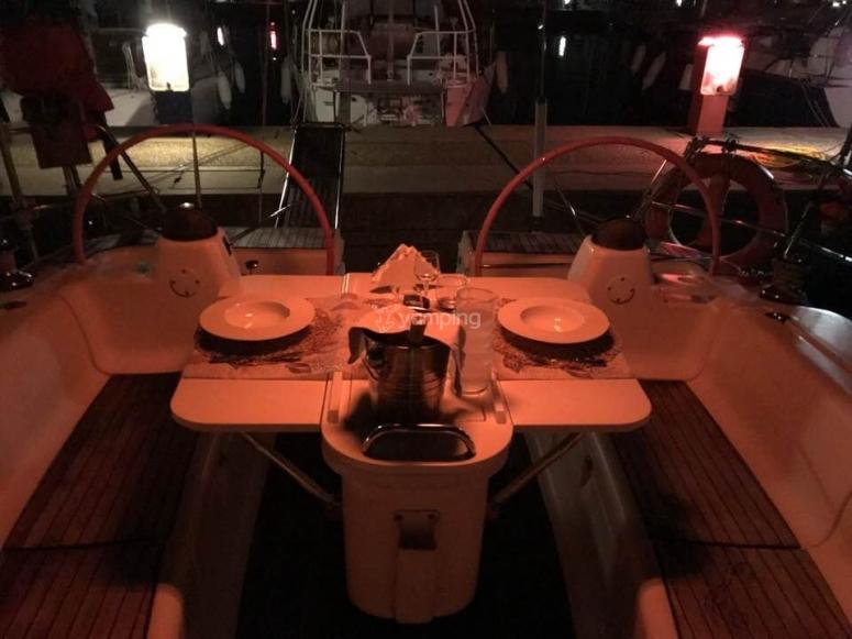 Romantic dinner on board.