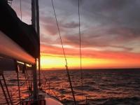 Sailing at sunset.