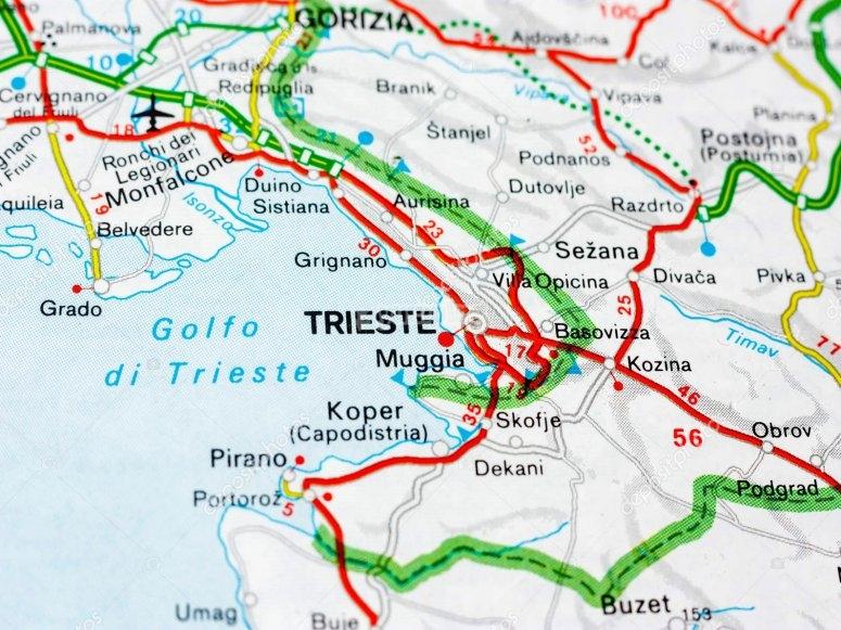 La cartina della città di Trieste.