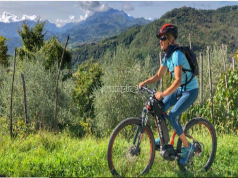 In mountainbike prima della degustazione