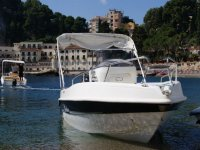 Boat with awning