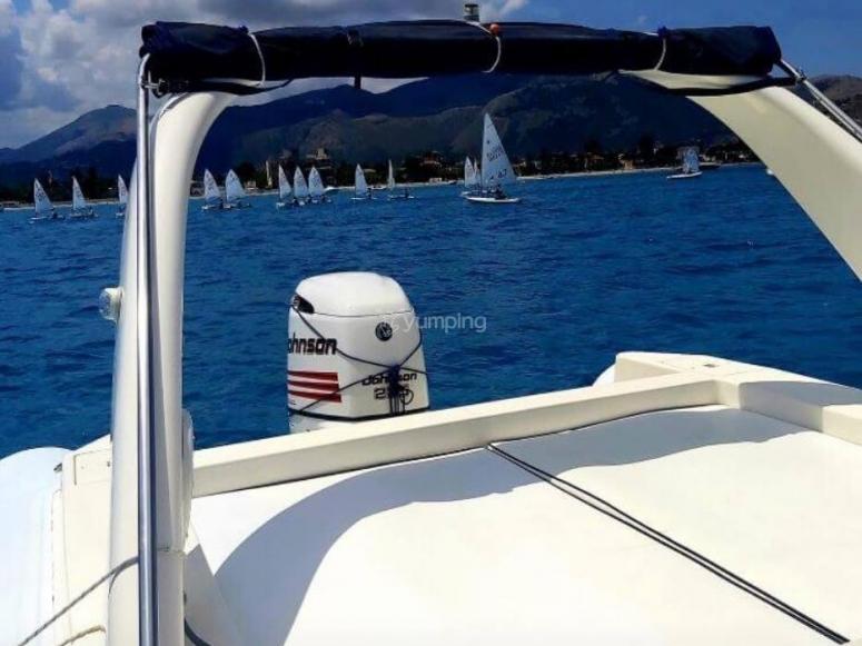 in a dinghy in Sicily