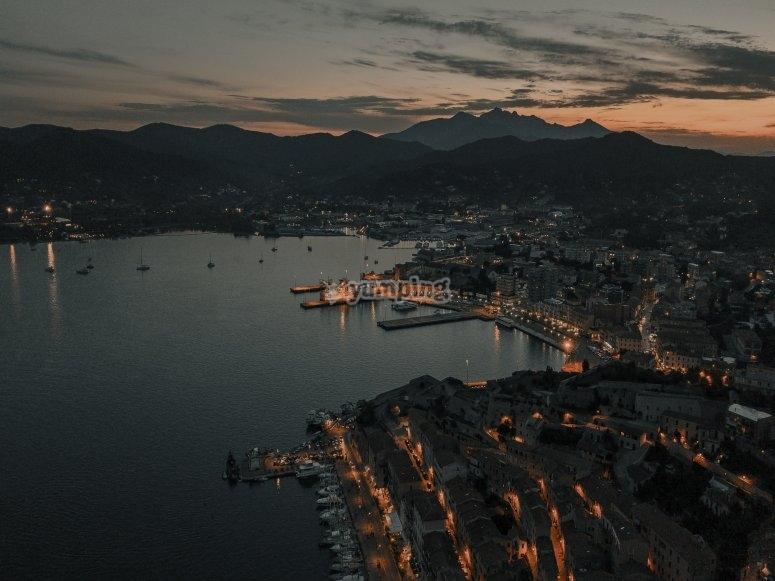 Elba island after sunset