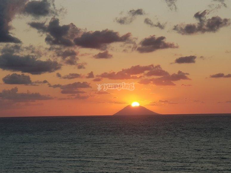 Sunset and Stromboli