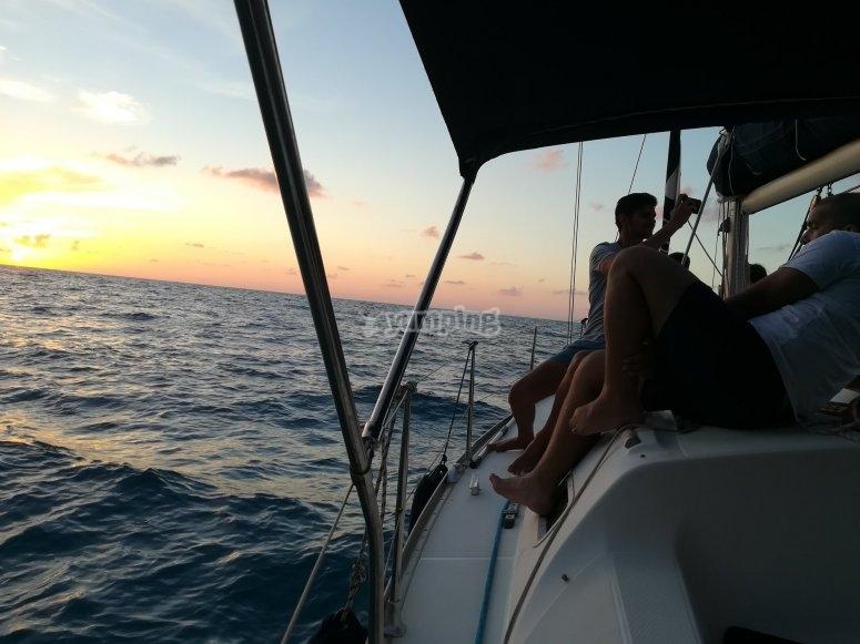Wonderful sunset on the sea