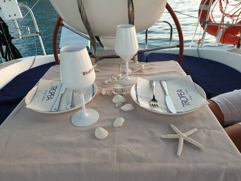 Table set on the boat