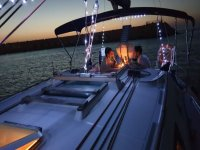 Romantic dinner on a sailing boat