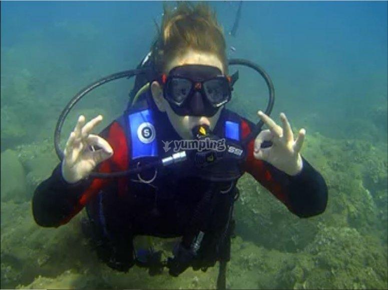 Durante l'immersione di diving