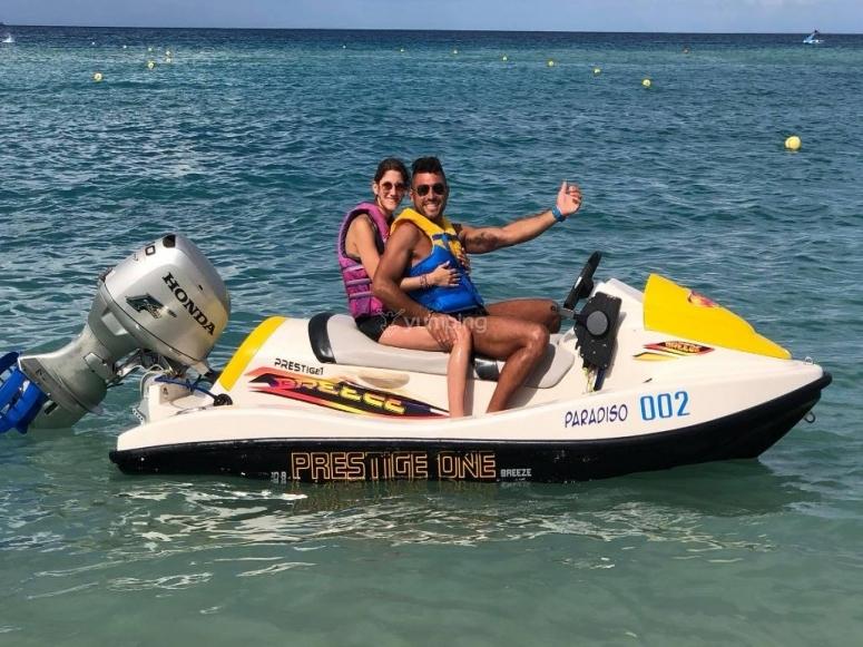 as a couple on a jet ski