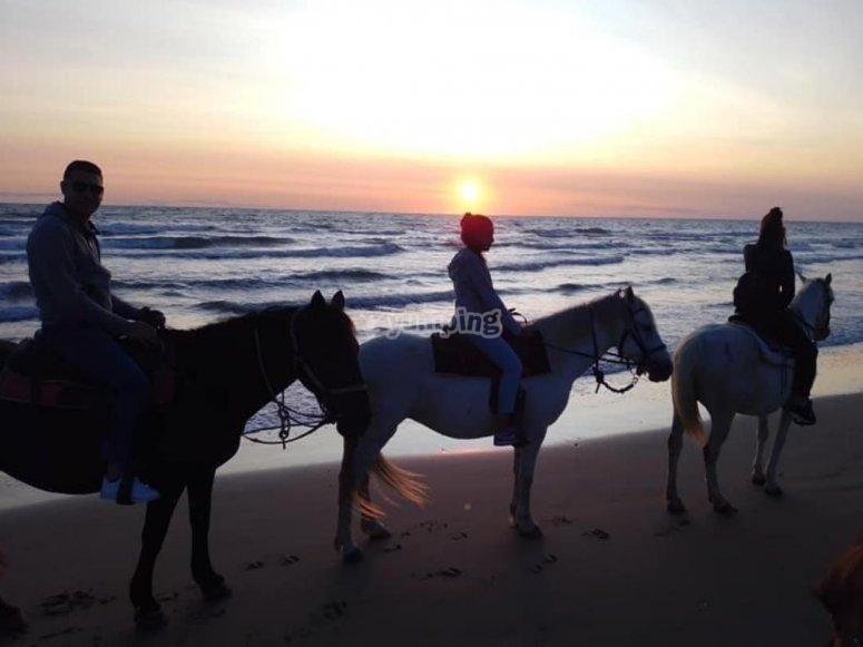a cavallo all alba