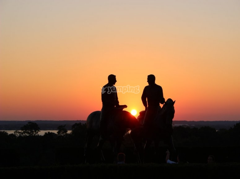 In the saddle at sunset