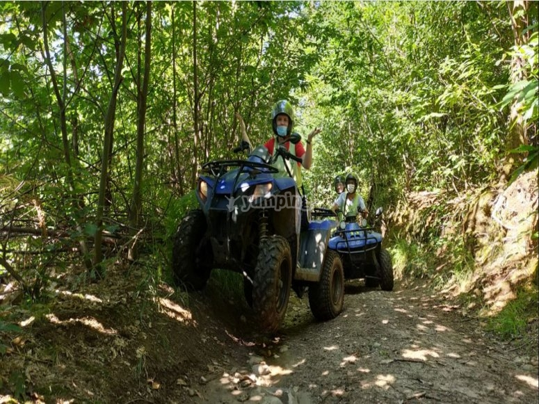 In the woods on a quad