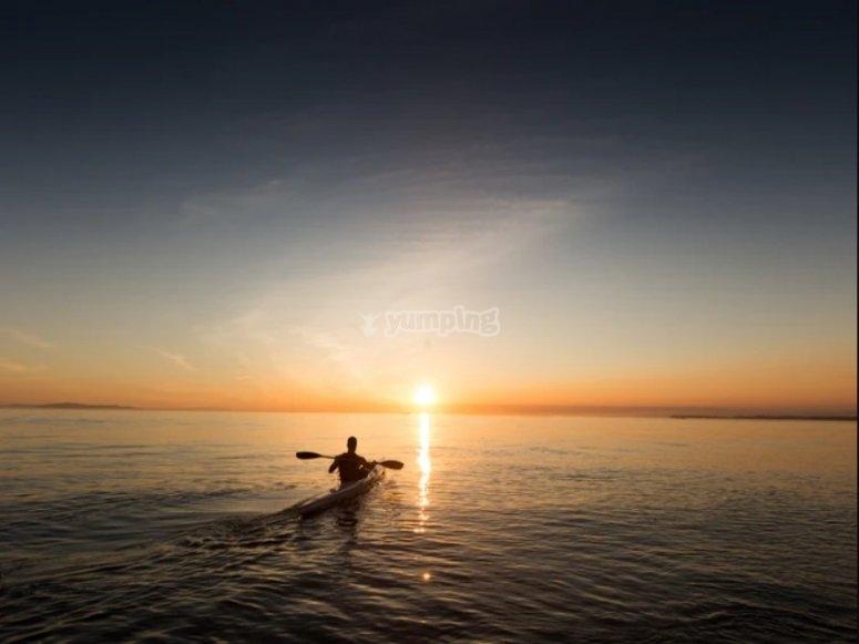 kayaks and sunset