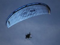 In flight with paramotor