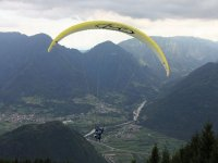 Flying over the valley in paragliding