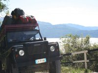 In Jeep con l'attrezzatura