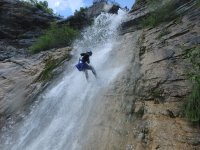 Coming down from a waterfall.