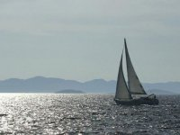 On a sailing boat in Tuscany